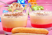Triffle in a glass with Christmas decoration — Stock Photo
