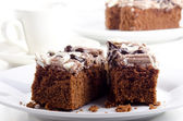 Chocolate cake with dessert flavor coffee cream — Stock Photo