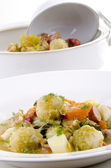 Autumn vegetable stew with carrots and brussels sprouts — Stock Photo