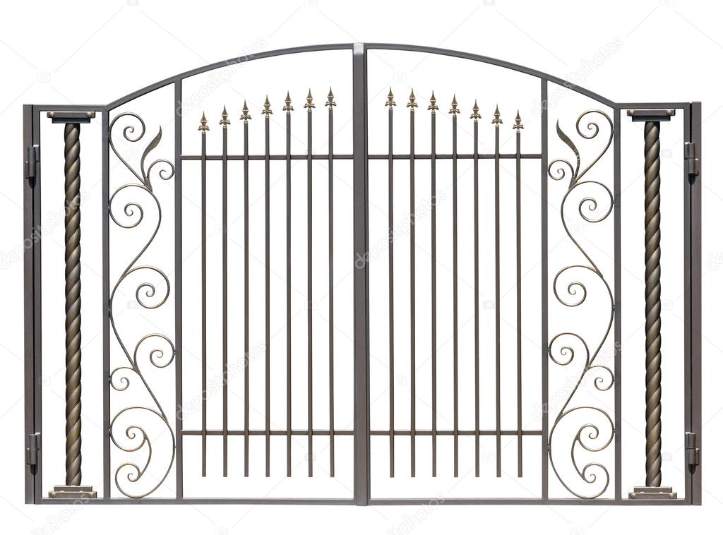 Modern light decorative forged  gates.  Isolated over white background.  Stock Photo #6766794