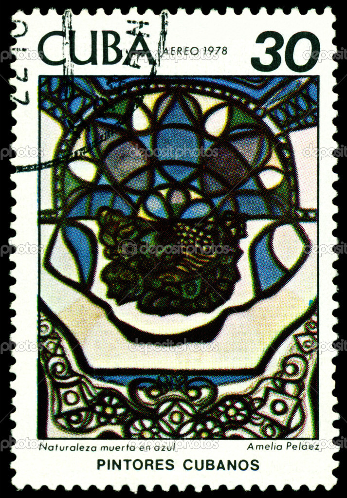 CUBA - CIRCA 1978: a stamp printed by Cuba  shows a picture of artist  Amelia  Pelaez   Still life with blue , series, circa 1978 — Stock Photo #6879512