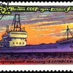"Vintage postage stamp. Dry cargo ship "" Baltic "". — Stock Photo"