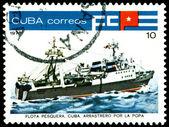 Vintage postzegel. tonijn indusnry. 3. — Stockfoto