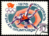 Vintage postage stamp. Greco - Roman wrestling. — Stock Photo
