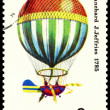 Vintage postage stamp.  Air-balloon. J. Blanchard, J. Jeffries. - Stock Photo