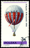 Vintage postage stamp. Air-balloon. F. Hynek, Z. Burzynski. — Stock Photo