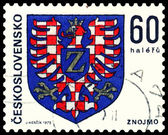 Vintage postage stamp. Coat of Arms Znojmo. — Stock Photo