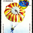 Vintage  postage stamp. Paratrooper. - Stockfoto