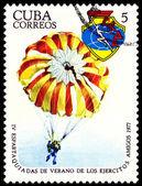 Vintage postzegel. paratrooper. — Stockfoto