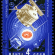 Stockfoto: Vintage postage stamp. Satellites Radio 1 and Radio 2.