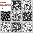 Stock vektor: Collection of halloween seamless patterns