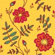 Stok Vektör: Seamless pattern with color flowers
