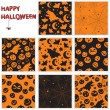 Collection of halloween seamless patterns — Stockvektor