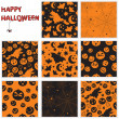 Stok Vektör: Collection of halloween seamless patterns