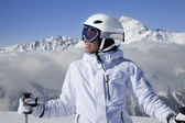 Portrait of girl skier — Stock Photo