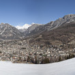 Panorama of Bormio town, Italy - Stock Photo