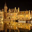 Bruges canal at night, Belgium — Stock Photo #7661520