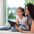Mother and daughter with digital tablet — Stock Photo #6807444