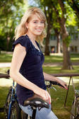 Student with Bike — Stock Photo
