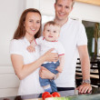 Family at Home in Kitchen — Foto Stock
