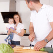 Family Making Meal — Stock Photo