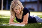 University Student Studying Outdoors — Stock Photo