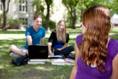 Happy Student looking back — Stock Photo
