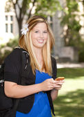 College Girl with Phone — Stock Photo