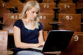 University Student with Computer — Stock Photo