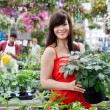 Beautiful female customer holding potted plant — Stock Photo