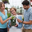 Couple shopping for plants — Stock Photo