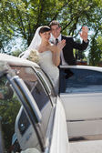 Wedding Couple Waving — Stock Photo