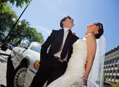 Wedding Couple Laugh — Stock Photo