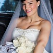 Beautiful Bride in Limo - Stock Photo