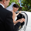 Bride and Groom with Limo — Stock Photo