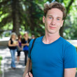 Portrait of Smiling University Male — Stock Photo