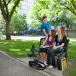 Stock Photo: Students studying on campus