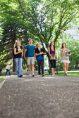 Happy Students Walking on Campus — Stock Photo