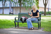 College girl using cell phone — Stock Photo