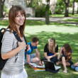 Stock Photo: Young college girl at college campus