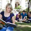 Students reading books — Stock Photo