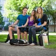 Students sitting on campus bench — Stock Photo #6993776