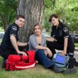 EMT Team with Patient — Stock Photo
