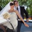 Stock Photo: Wedding Couple Portrait with Limo