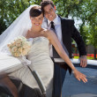 Wedding Couple Portrait with Limo — Stock Photo
