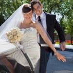 Wedding Couple Portrait with Limo — Stock Photo