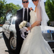 Newly wed couple in sunglasses — Stock fotografie