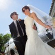 Happy Wedding Couple with Limo — Stock Photo