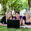 Students using laptop — Stock Photo