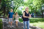 Estudantes caminhando no campus — Foto Stock